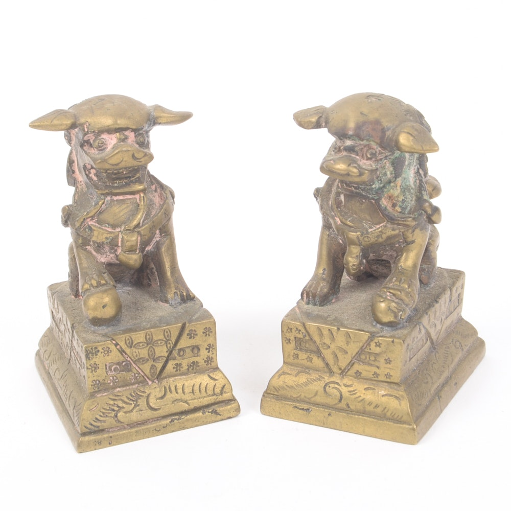 Pair of Miniature Chinese Brass Guardian Lions