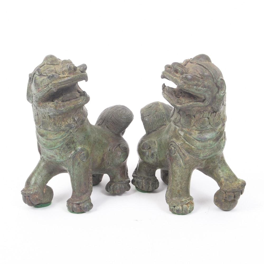 Pair of Bronze Guardian Lions