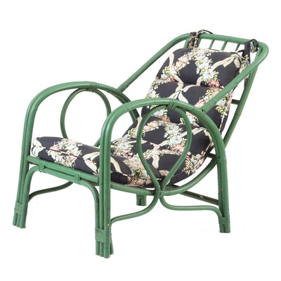 Vintage Green Rattan Lounge Chairs with Chintz Cushion
