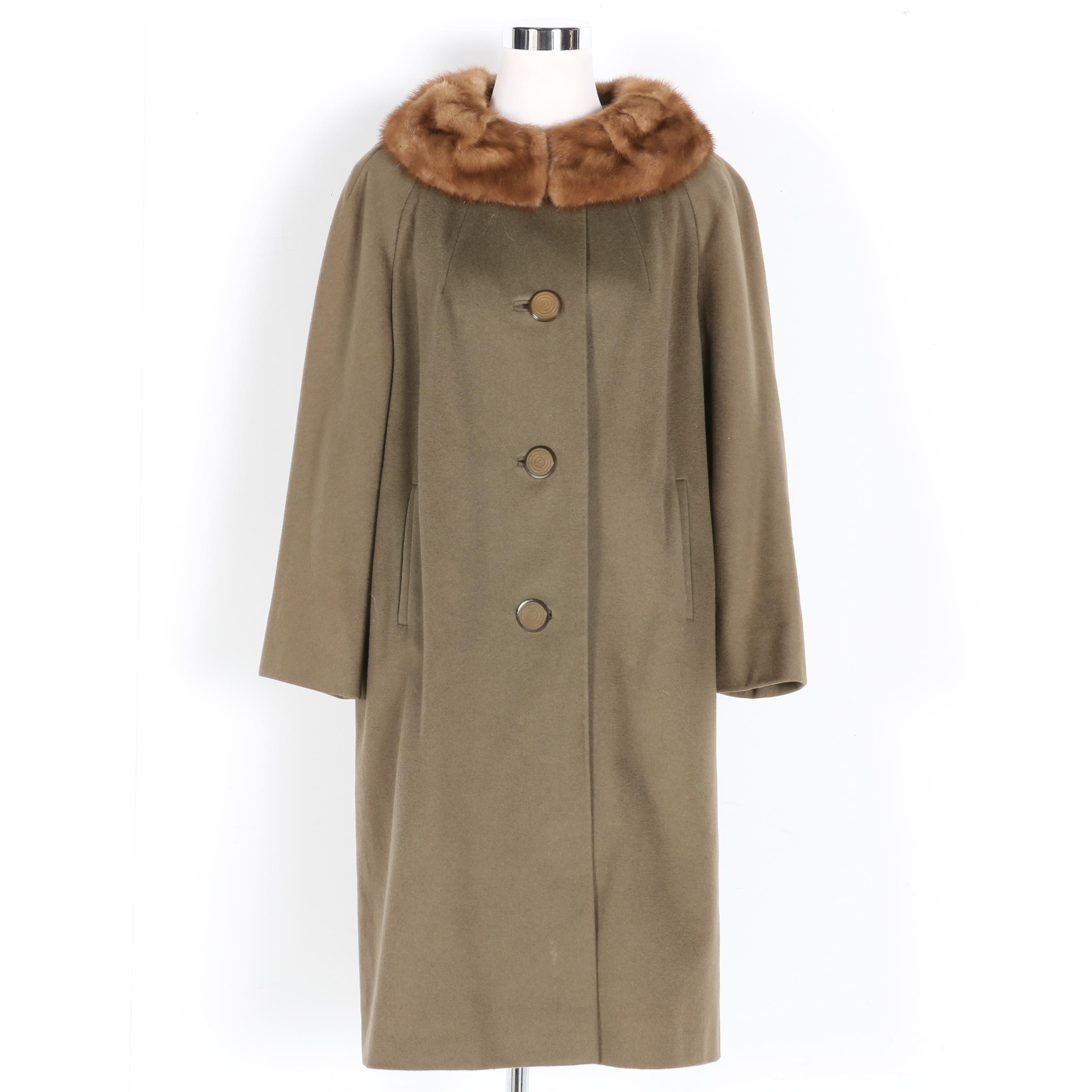 Circa 1960s Wool Coat With Mink Collar by Betty Rose