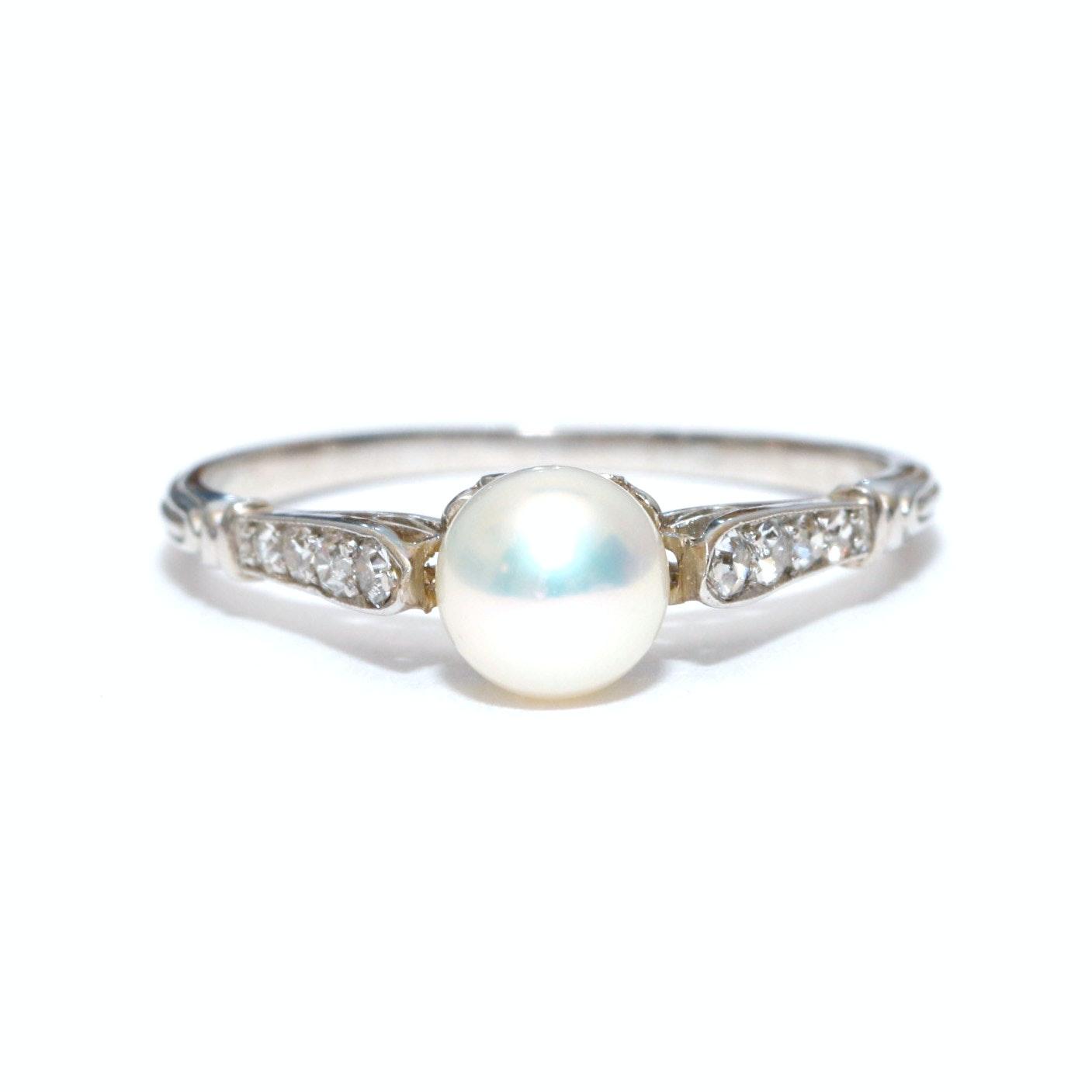 Platinum, Diamond and Akoya Pearl Ring
