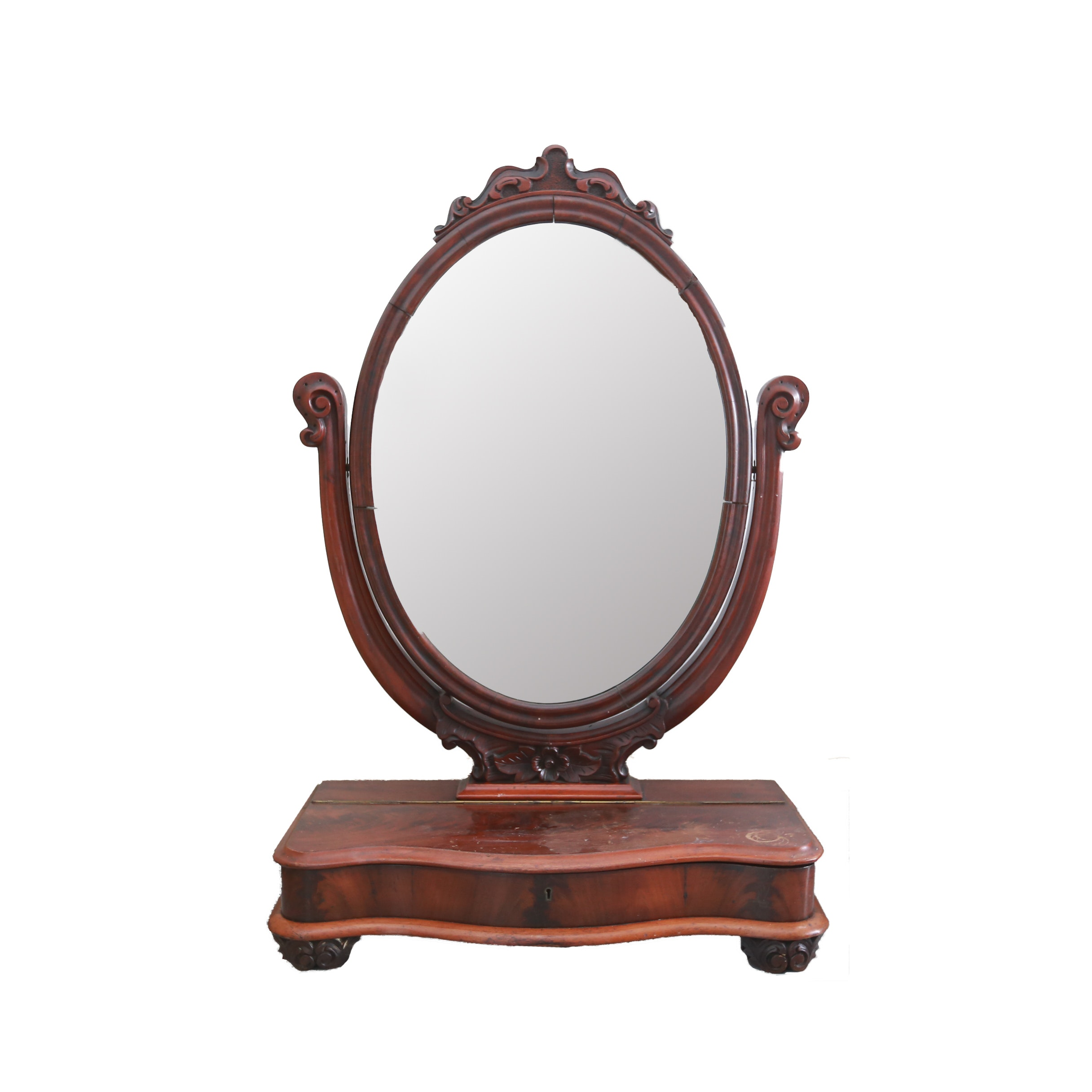 Antique Shaving Stand With Mirror