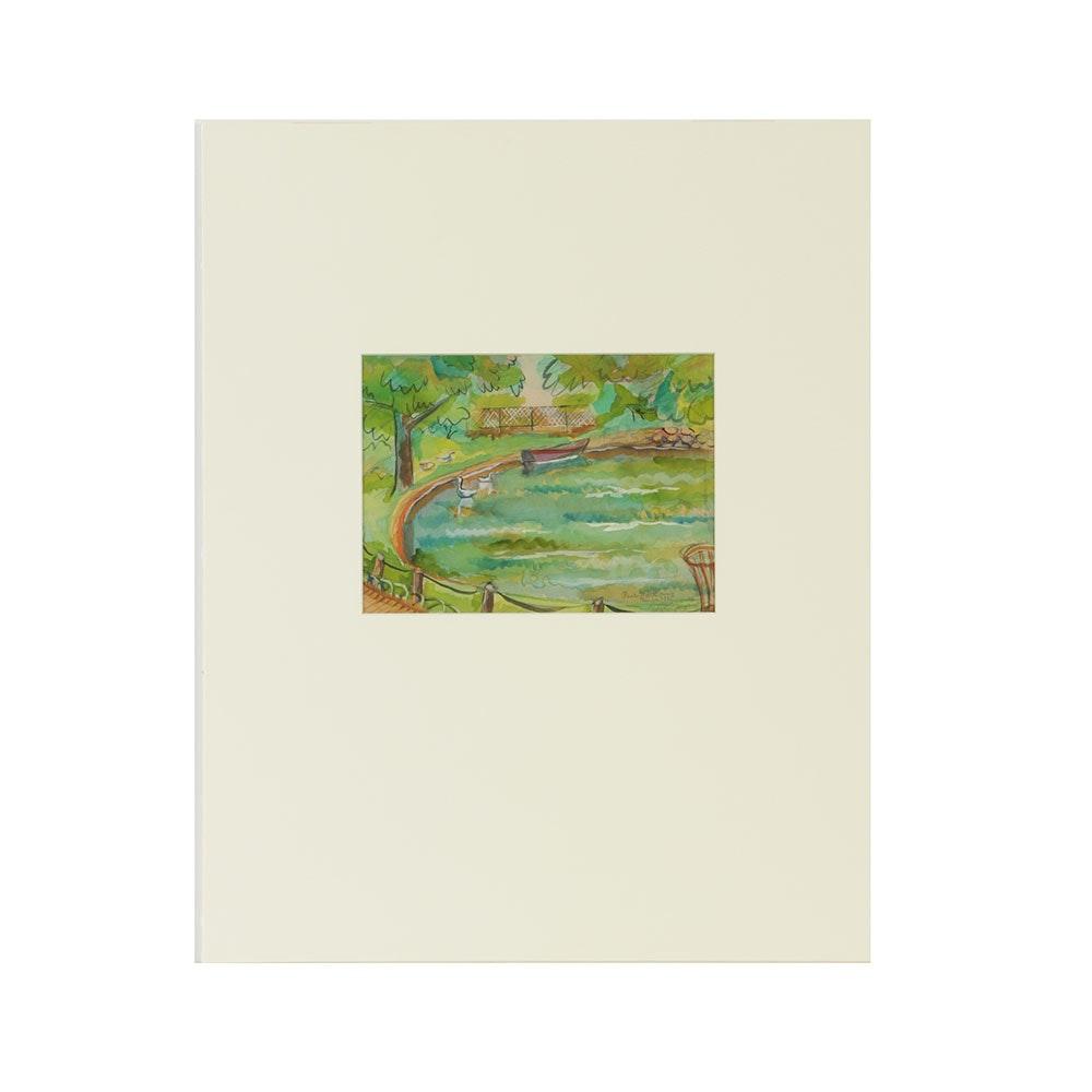 "Original 1935 Edgar Yaeger Watercolor ""Parc Montsouris"""