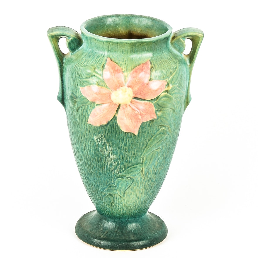 Roseville Pottery Clematis 10 Vase In Teal Ebth