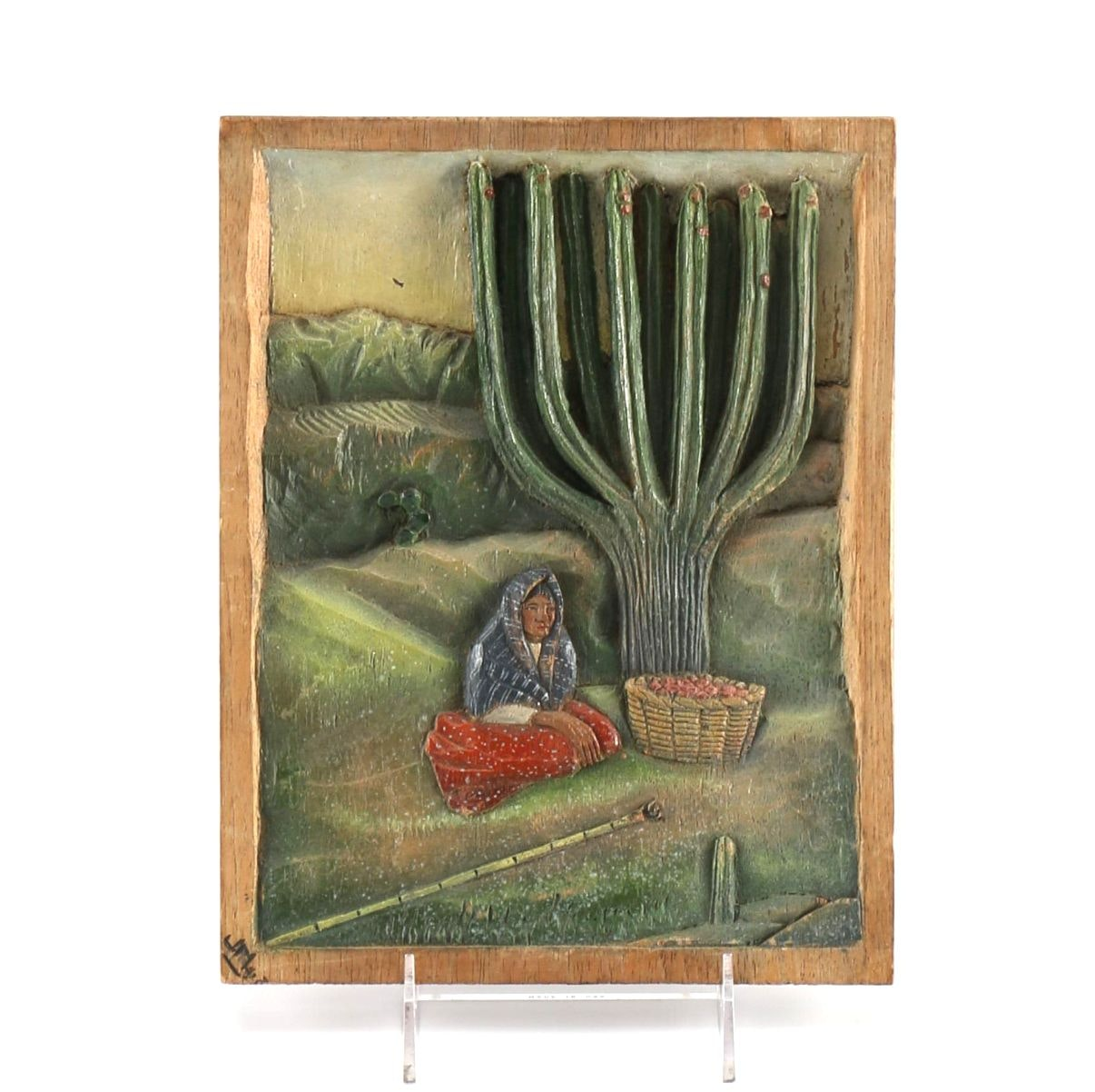 1930s Mexican Hand-Painted and Carved Wood Plaque