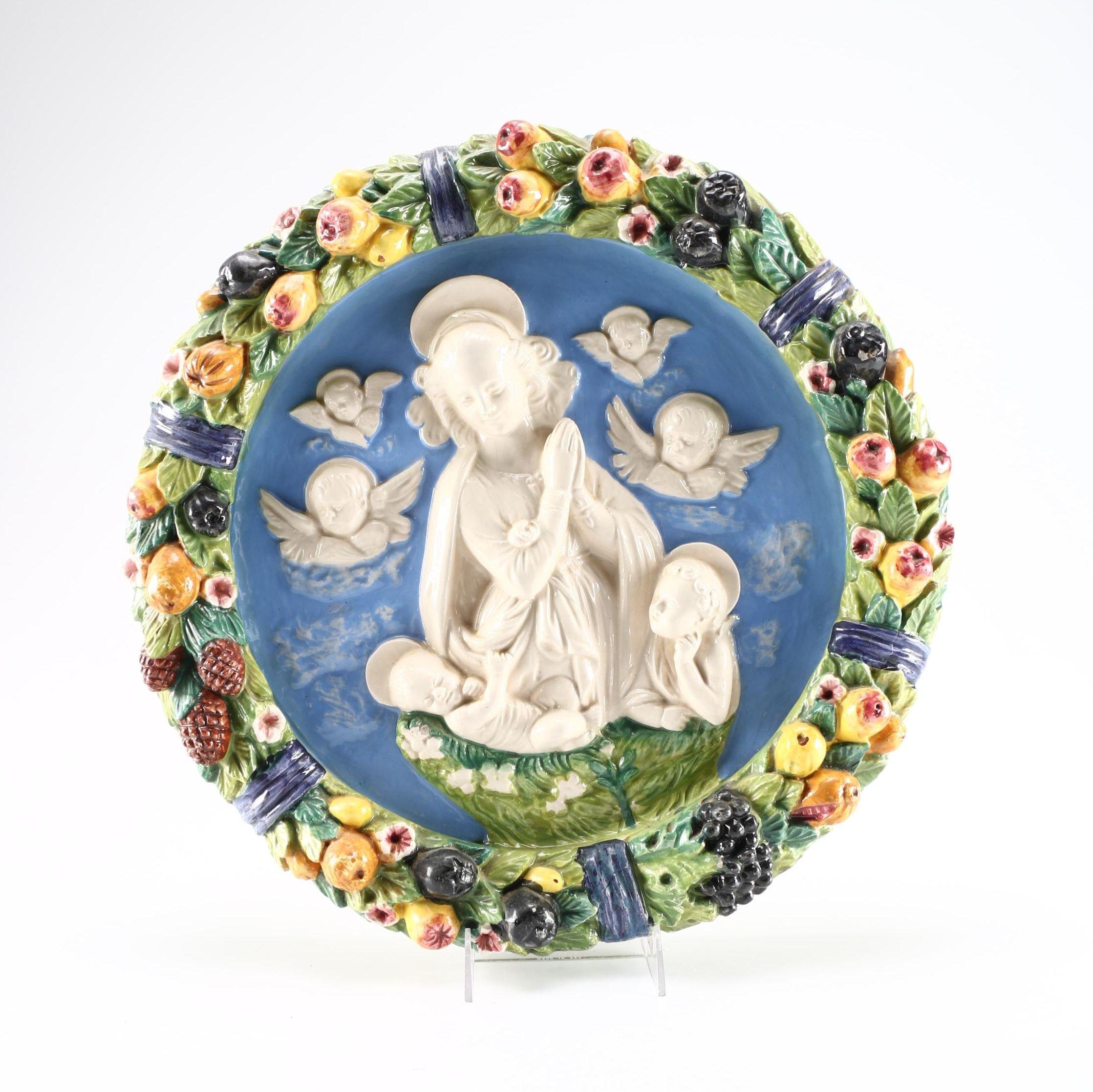 Andrea Della Robbia Style Italian Ceramic Wall Plaque