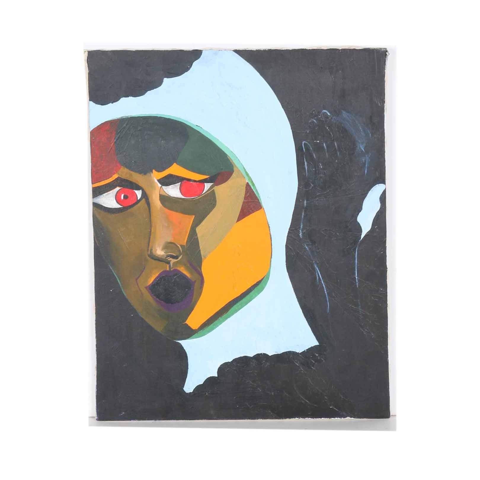 Mary Laura Taylor Acrylic Painting of Abstract Portrait