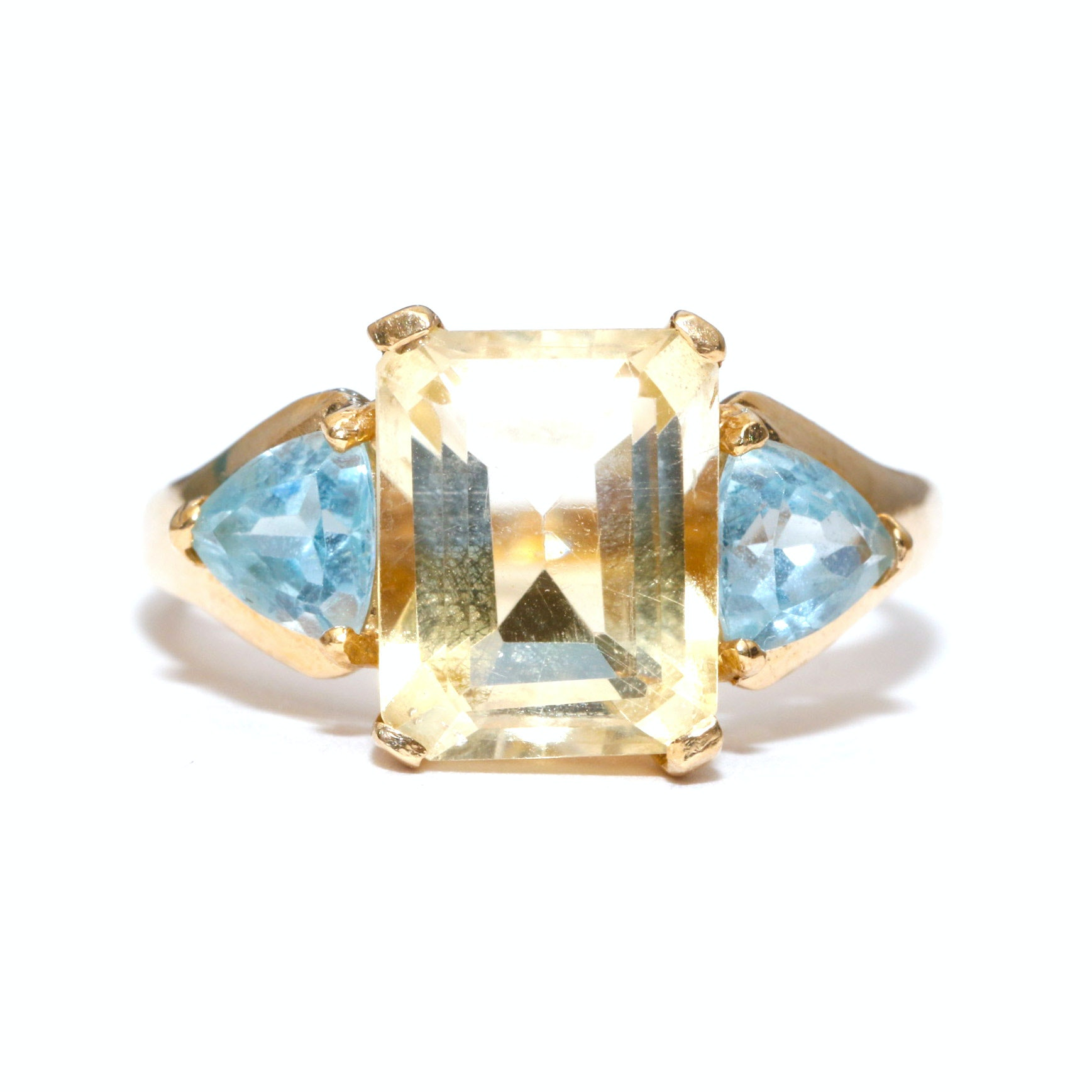 10K Yellow Gold Citrine and Blue Topaz Cocktail Ring