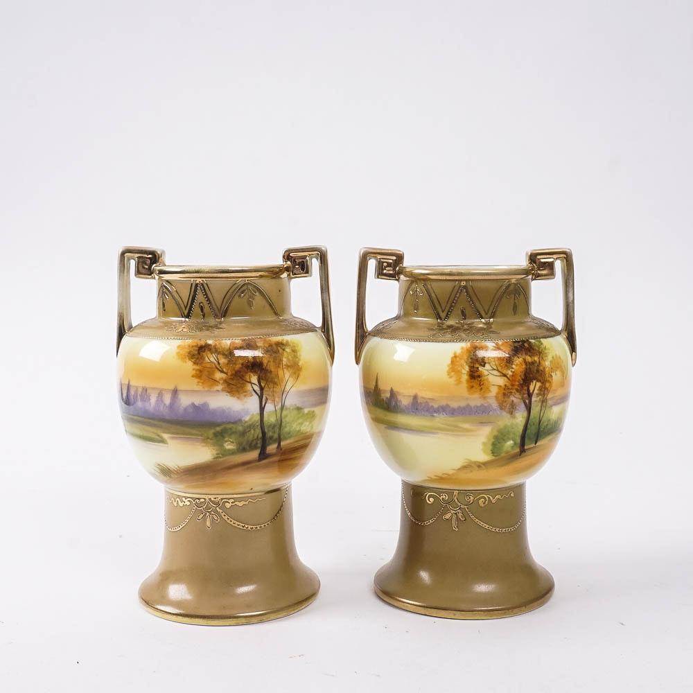 Antique Hand Painted Nippon Morimura Vases