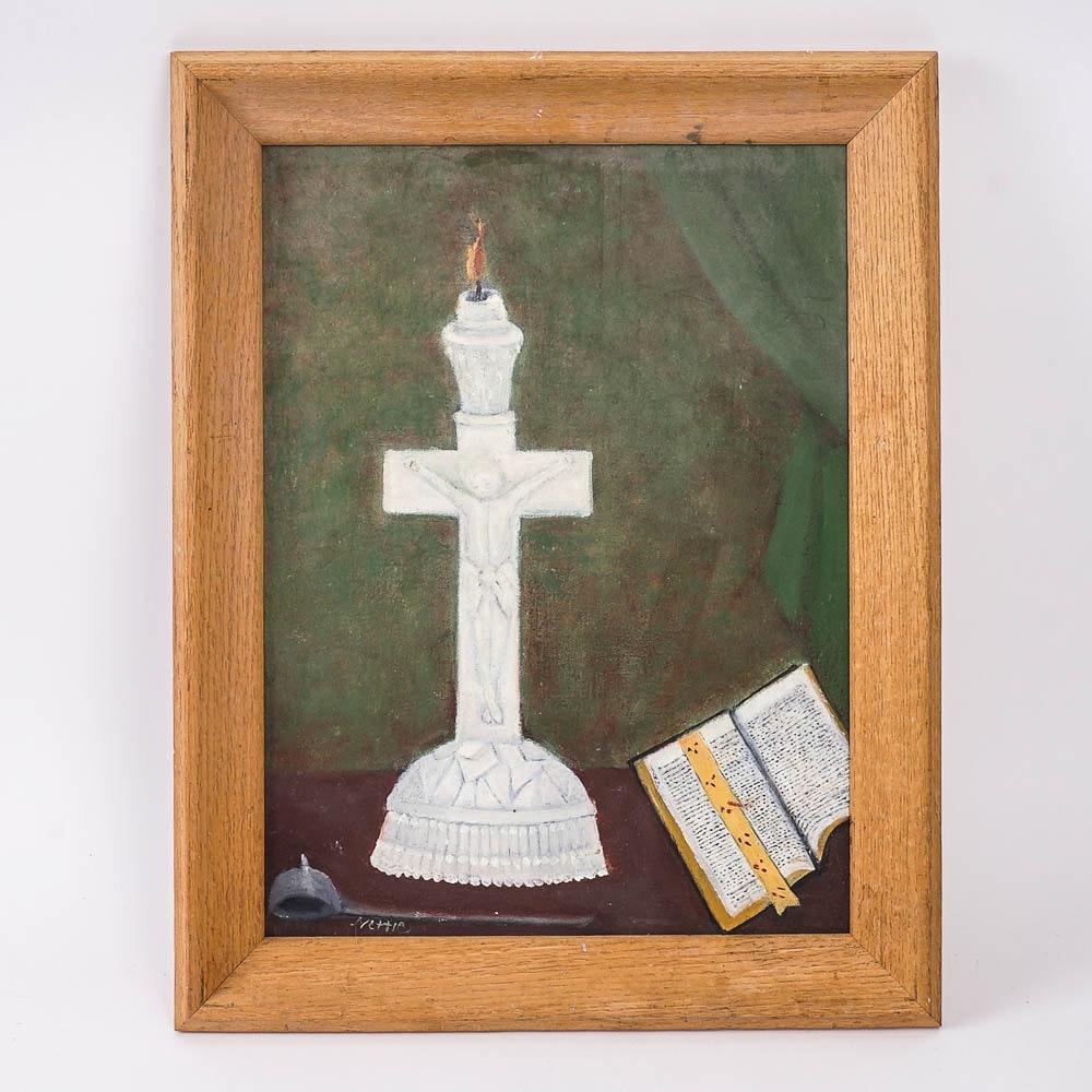 Christian Themed Acrylic Painting on Board