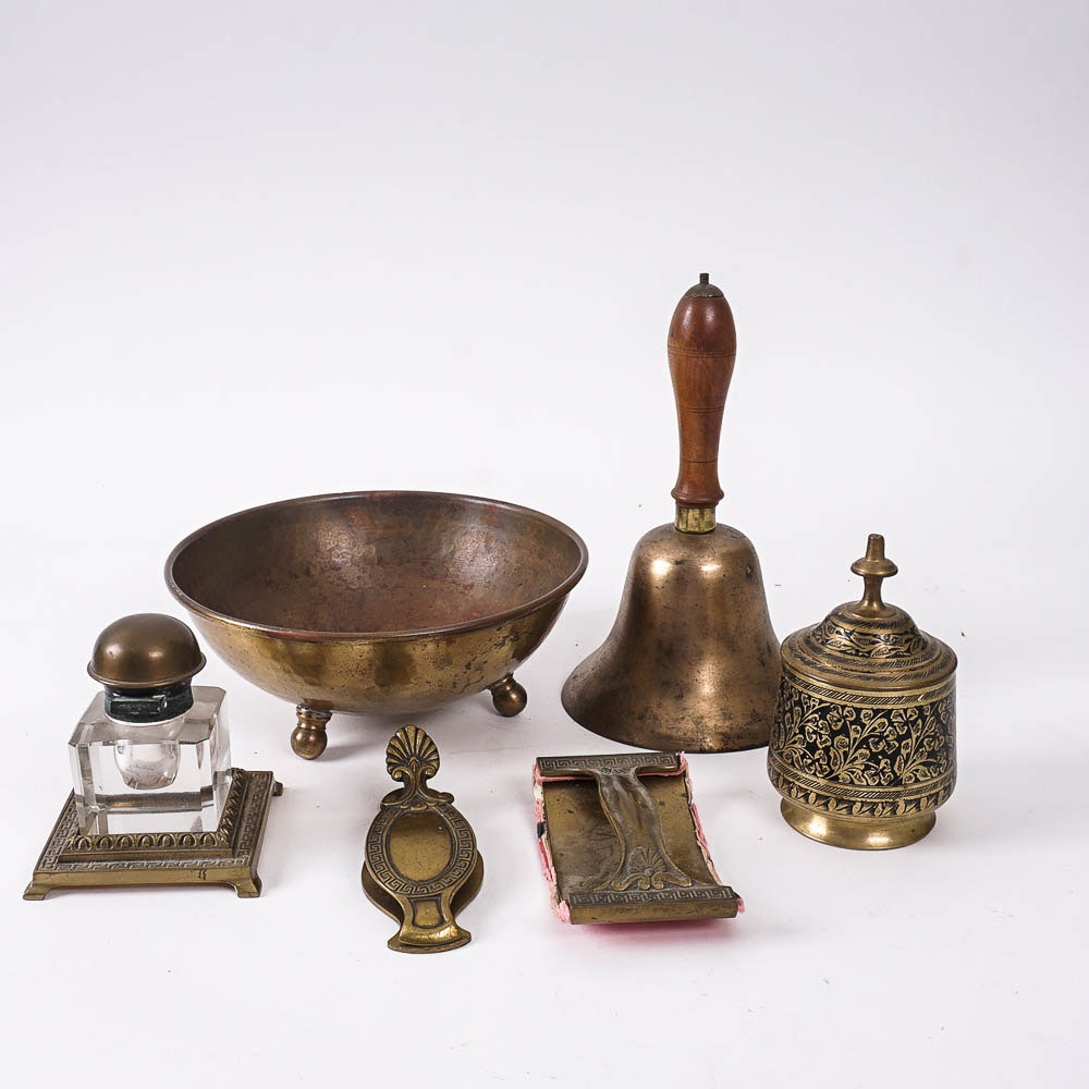 Hammered Brass Bowl, Inkwell, and Other Brass Home Decor