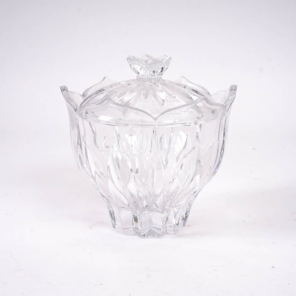 Lidded Floral Crystal Dish