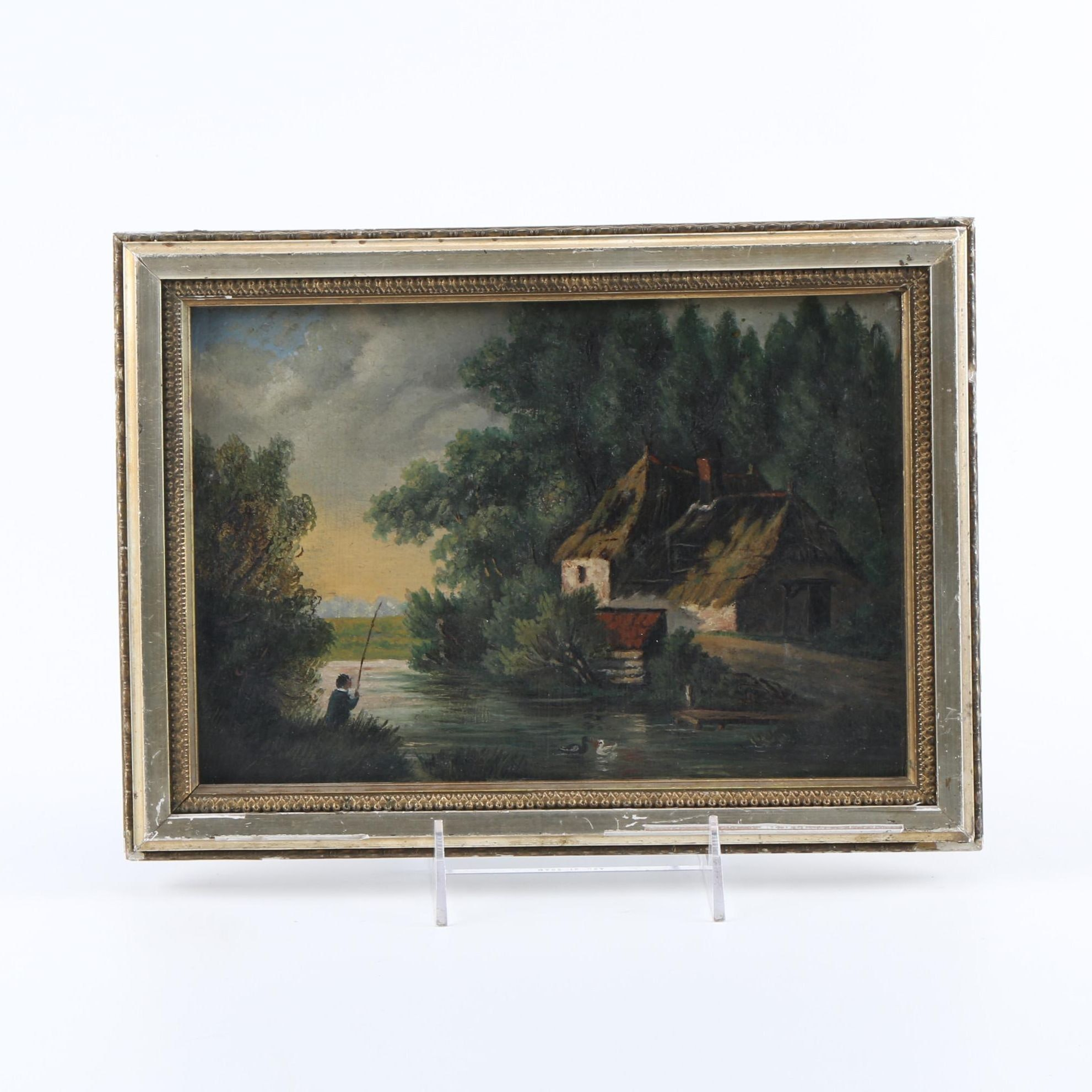 Original Oil Painting on Wood Panel Of River House
