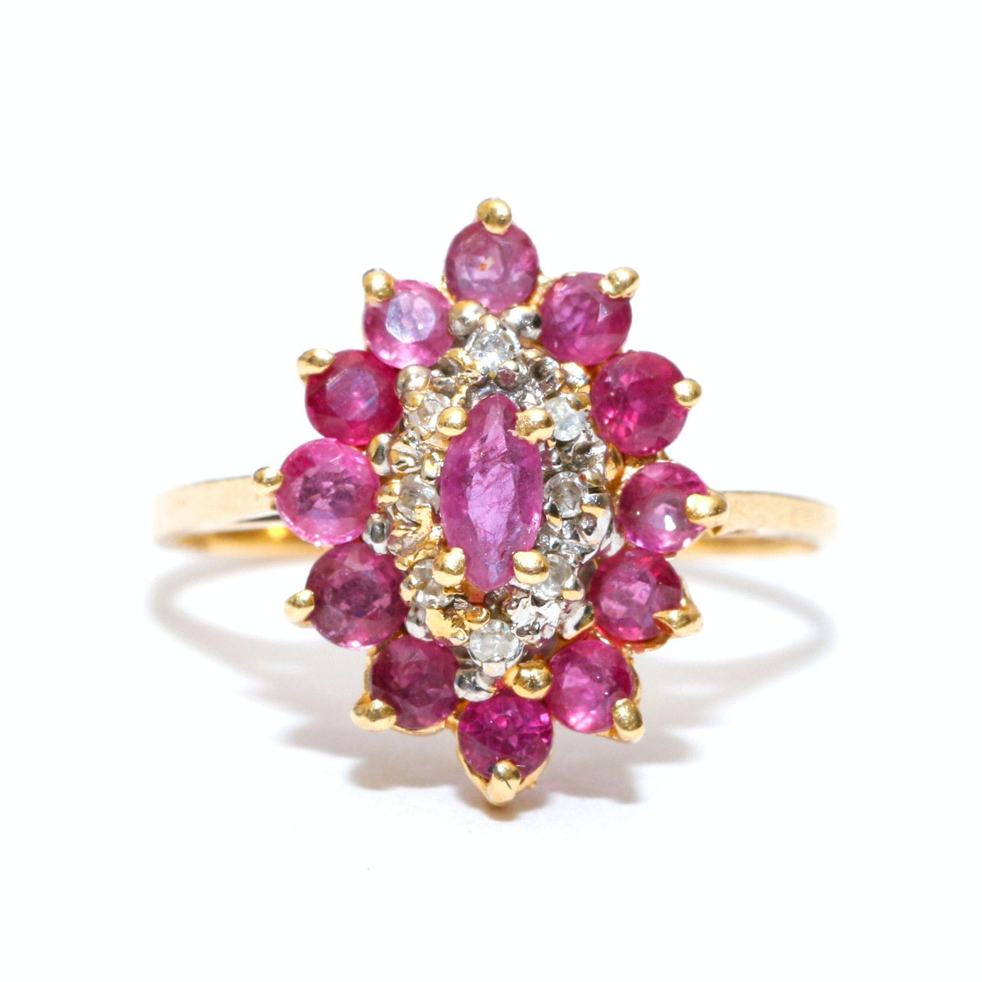 14K Yellow Gold Ruby and Diamond Marquis Cluster Ring