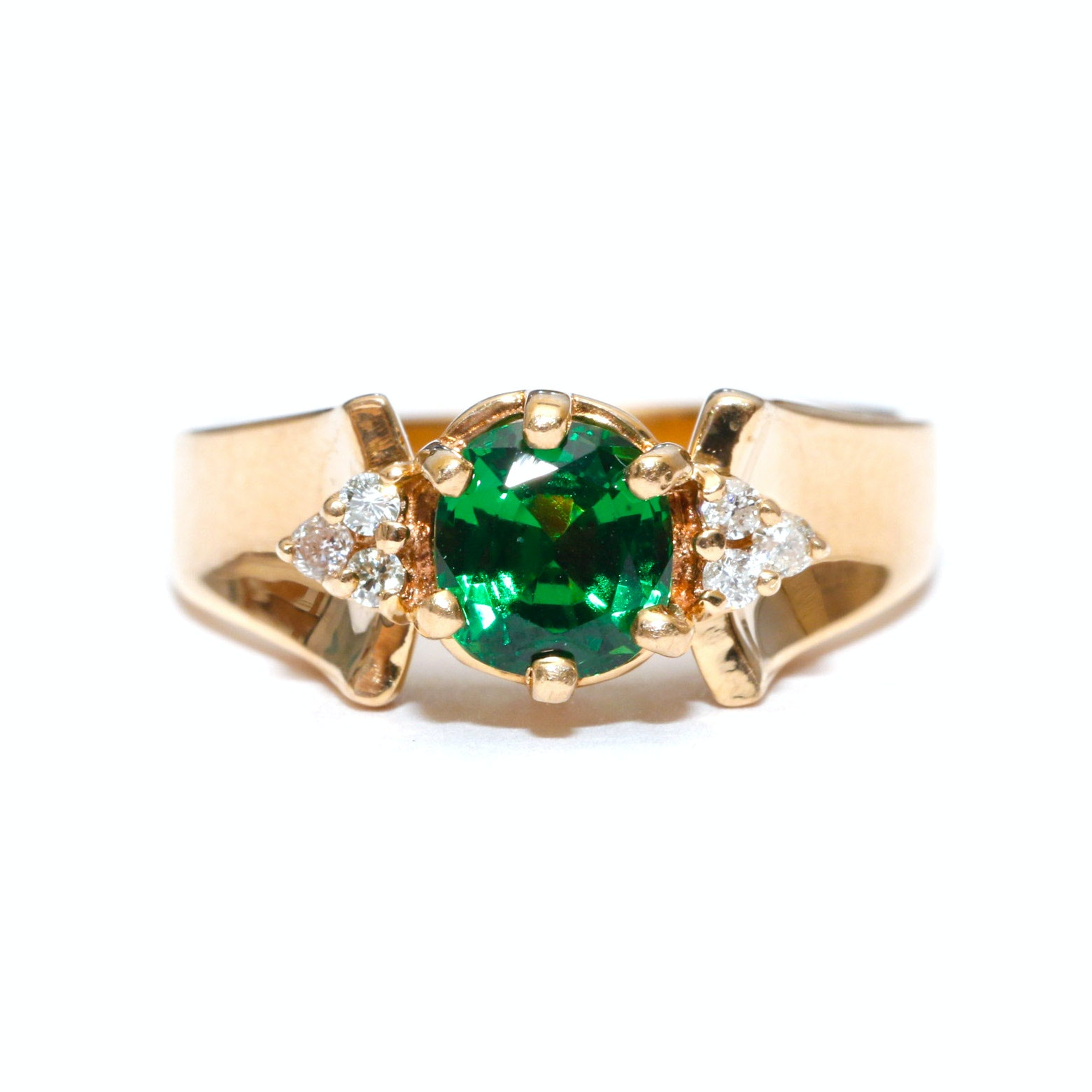 14K Yellow Gold Chrome Diopside and Diamond Ring