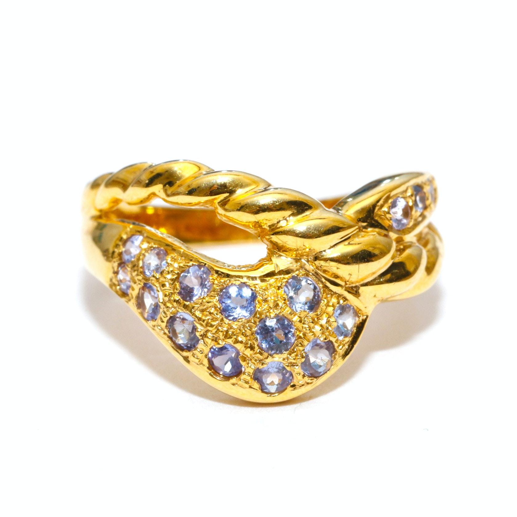 14K Yellow Gold Tanzanite Openwork Ring