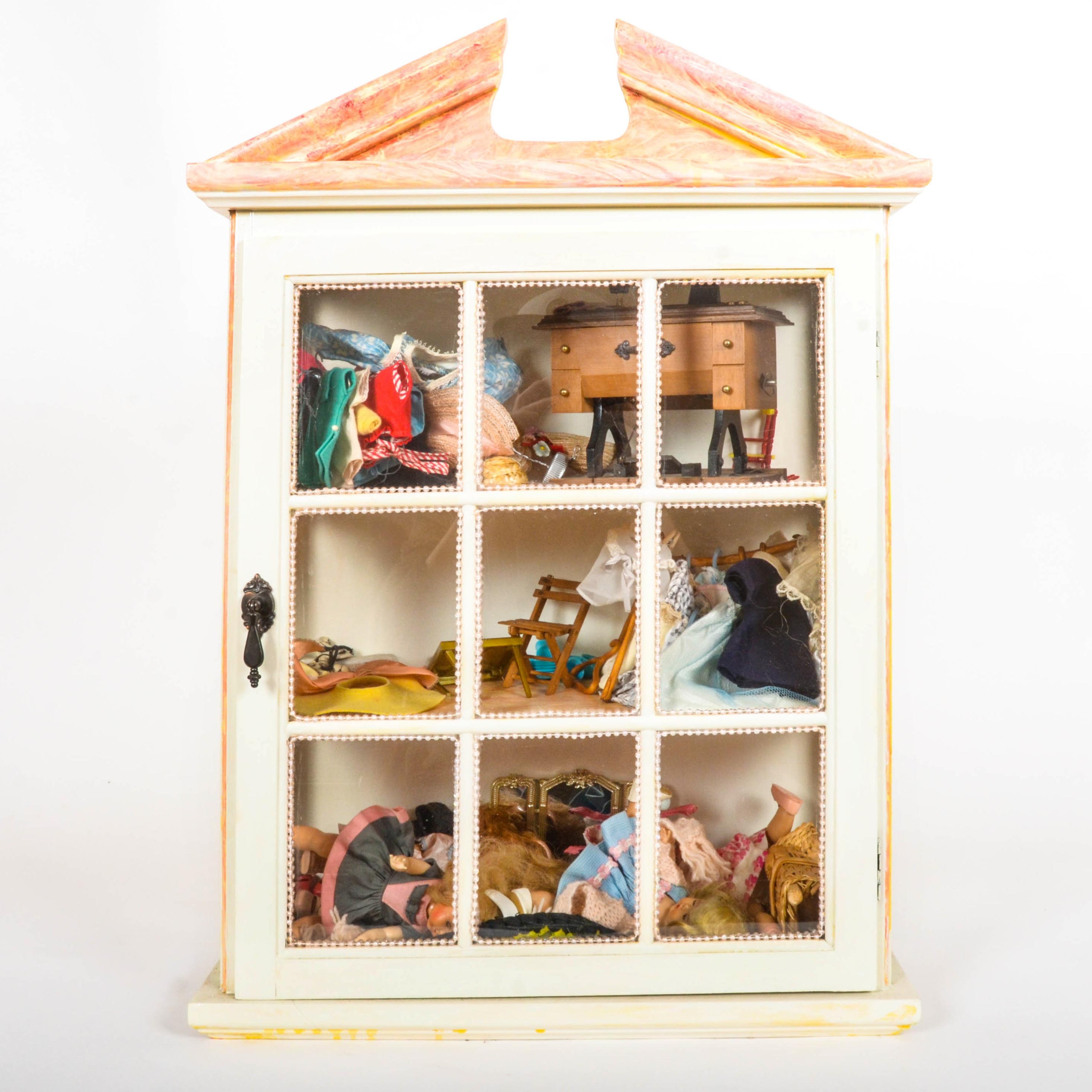 Dollhouse Display Cabinet with Dolls and Accessories