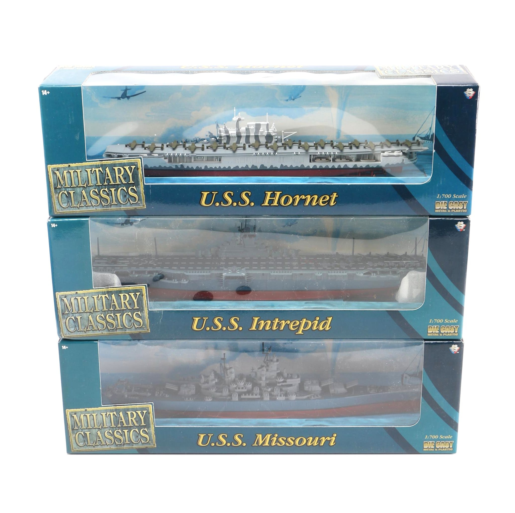 Military Classics Die-Cast Aircraft Carriers and Battleship