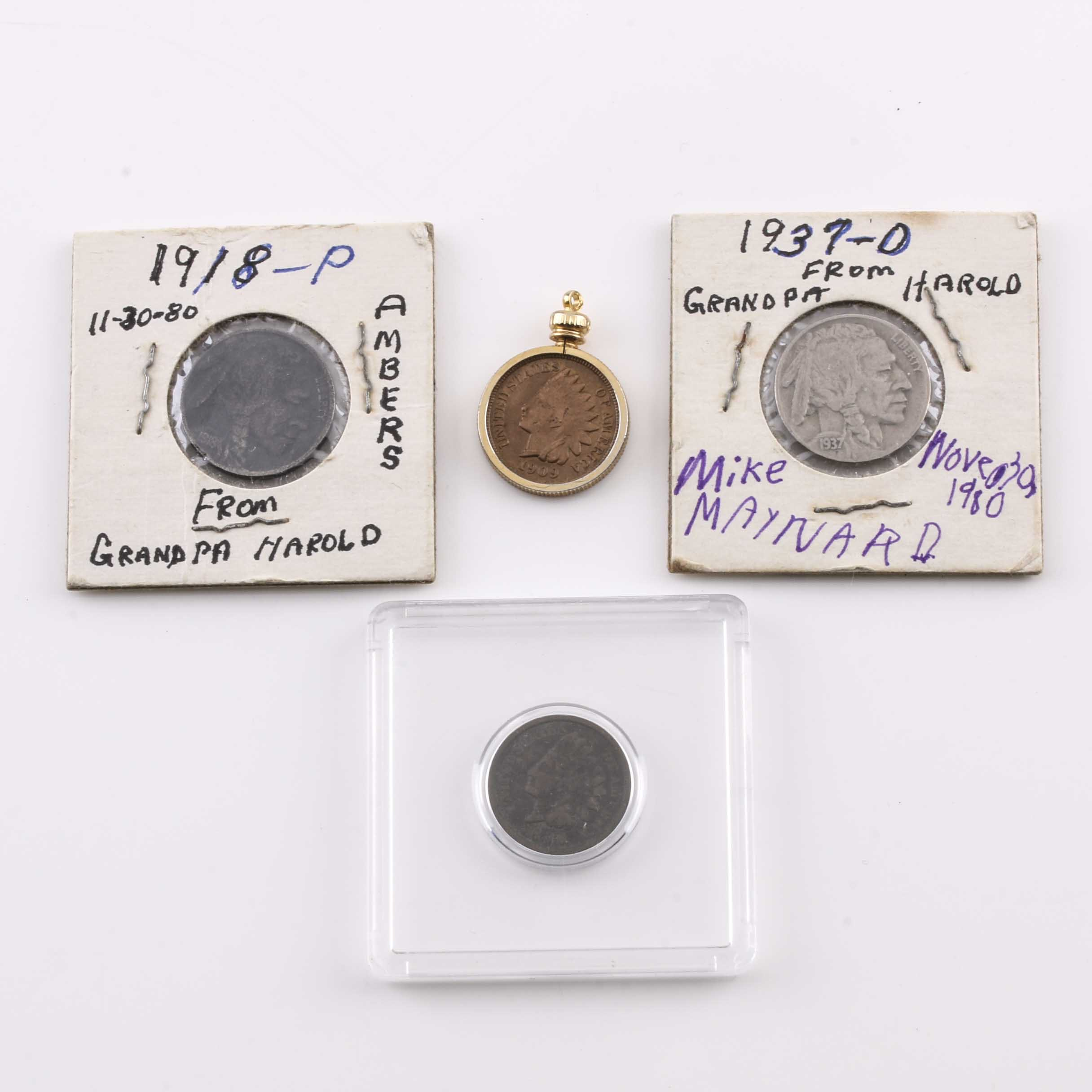 Group of Indian Head Pennies and Buffalo Nickels