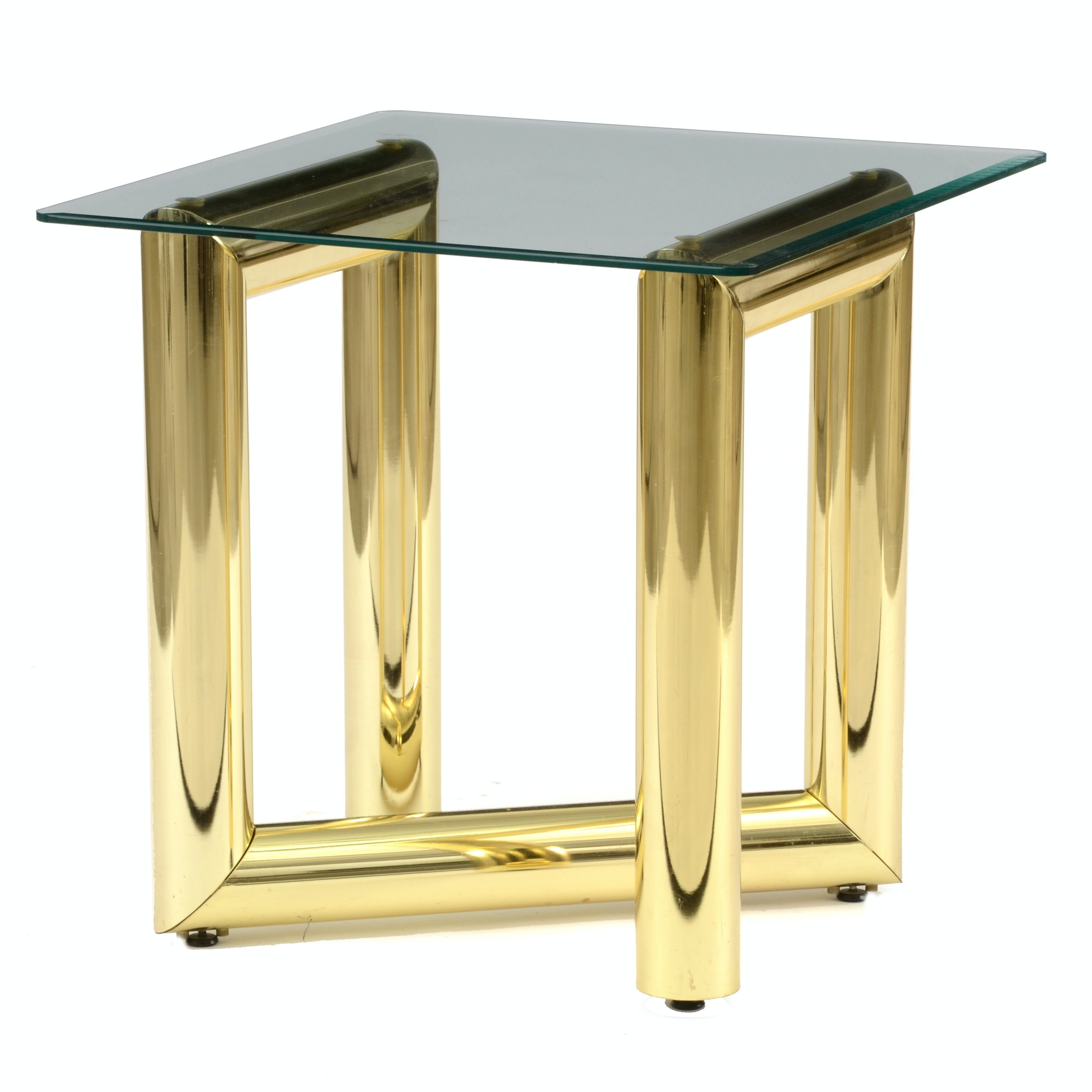 Karl Springer Brass and Glass End Table
