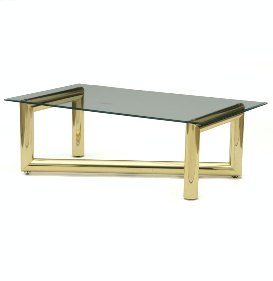 Karl Springer Brass And Glass Coffee Table Ebth