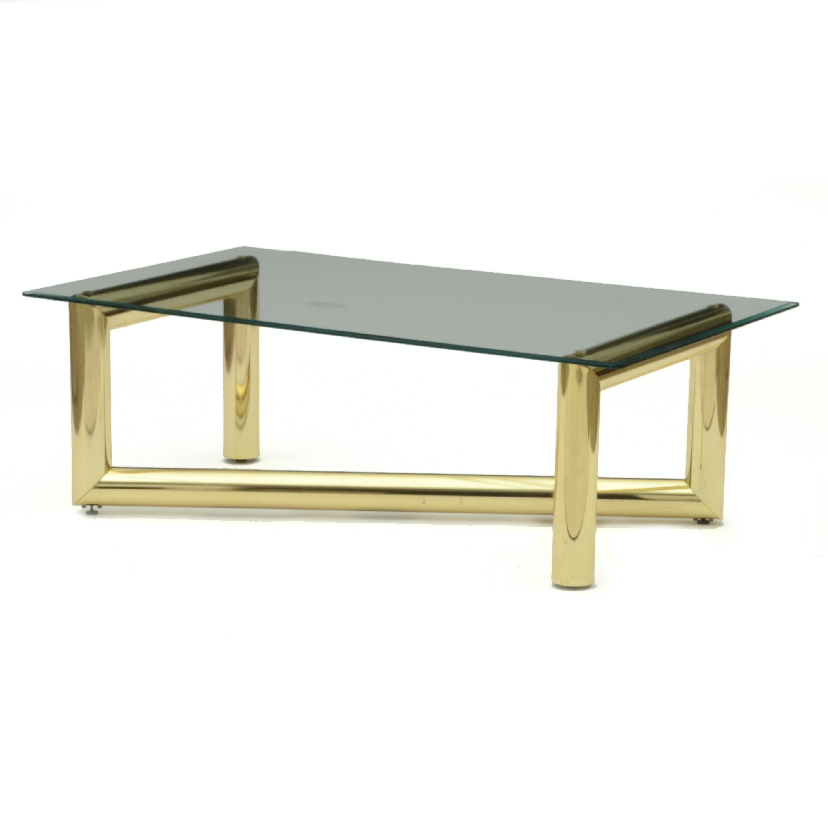 Elegant Karl Springer Brass And Glass Coffee Table ...
