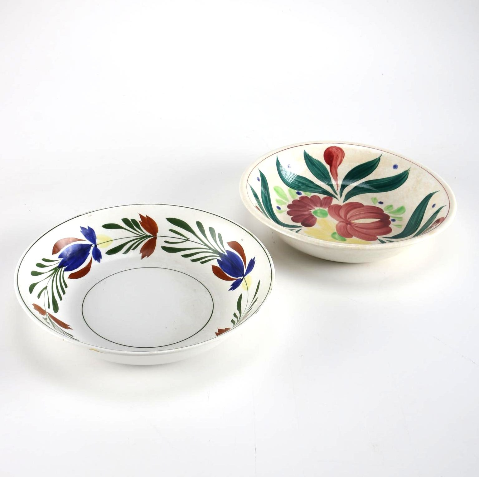 Pair of Hand-Painted Ironstone Ware Bowls