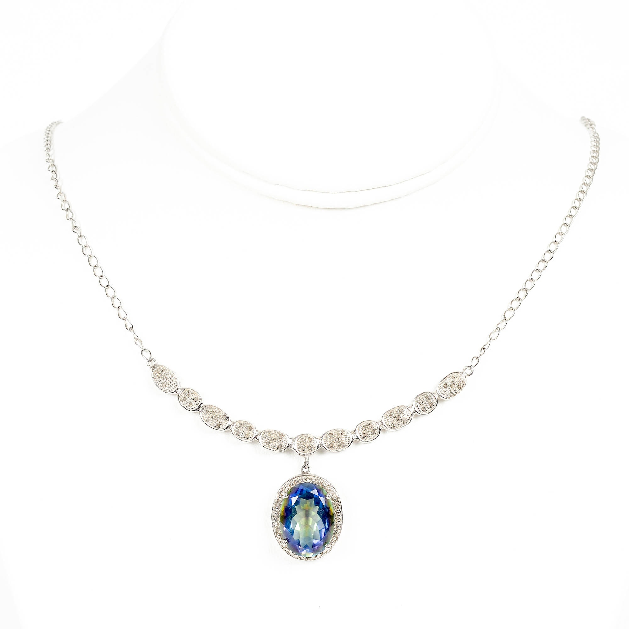 Sterling Silver Necklace with Quartz and Diamonds and Necklace with Amethyst and Quartz