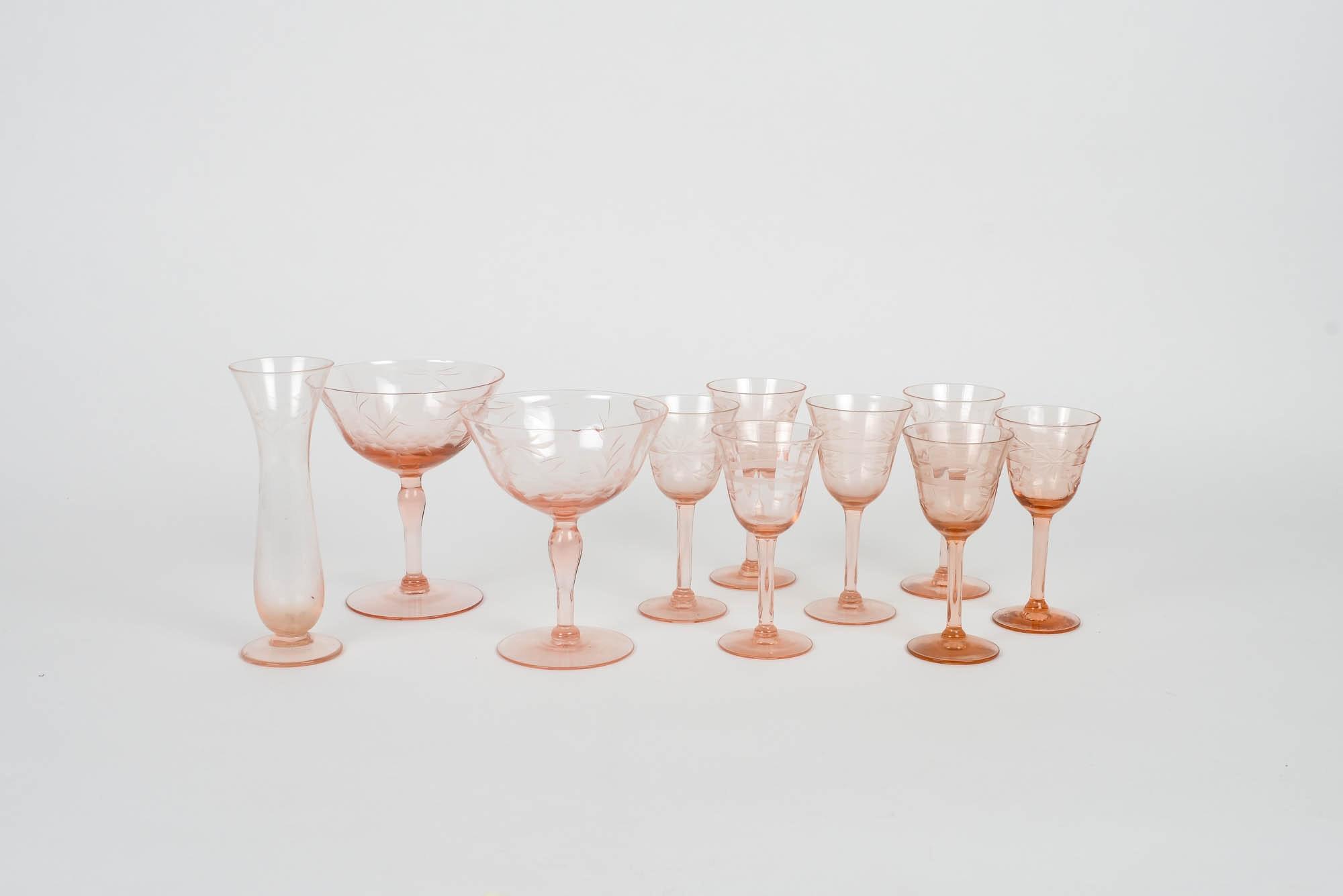 Set of Vintage Etched Cranberry Glasses