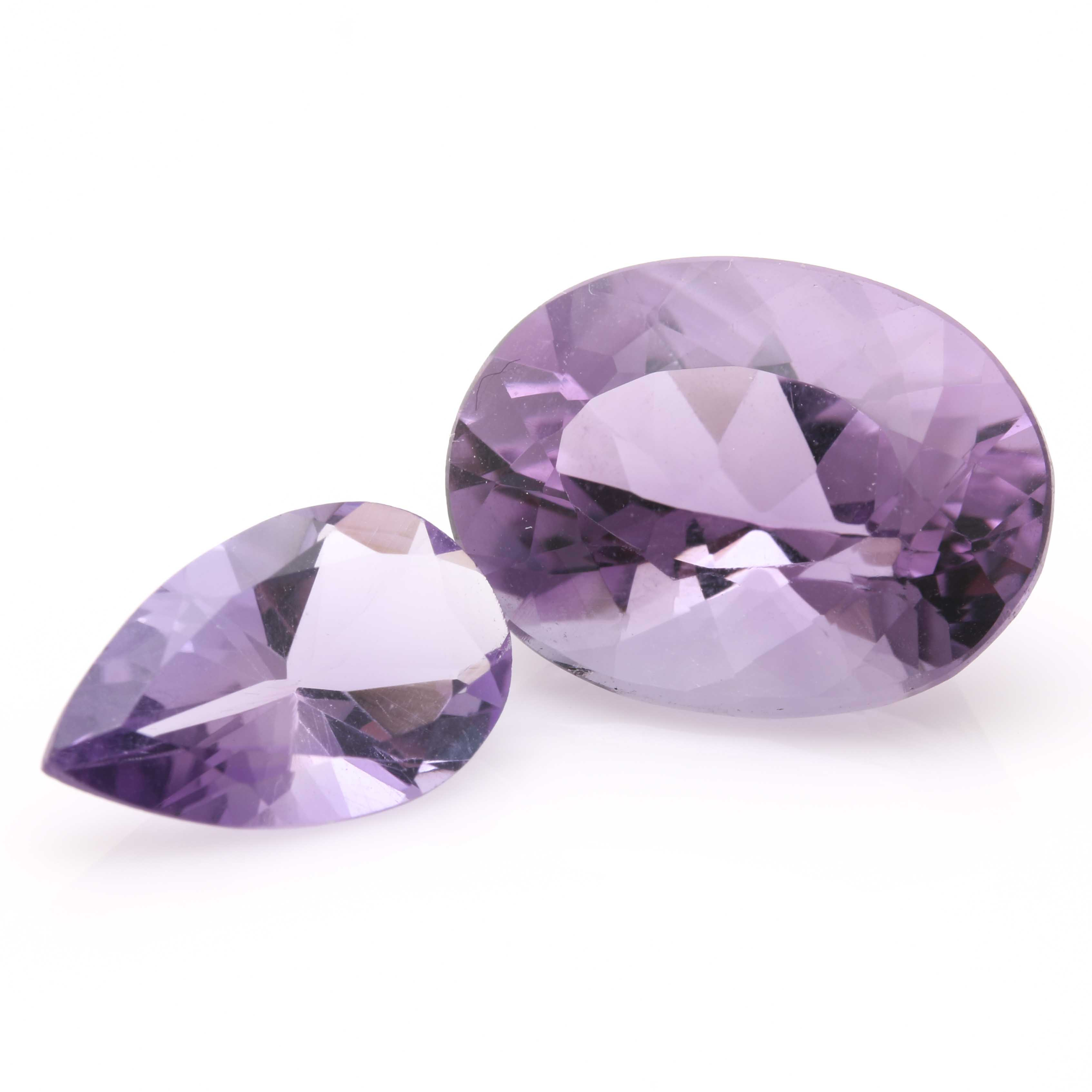 Two Loose Amethyst Stones