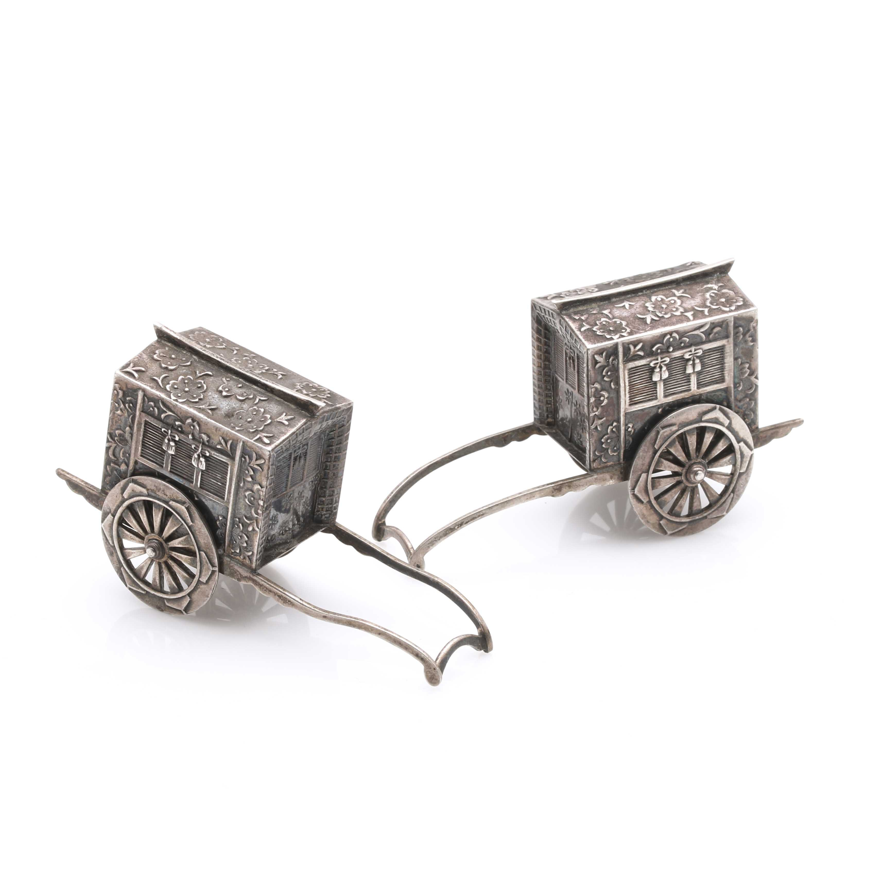 Sterling Silver Japanese Ox Cart Trinkets