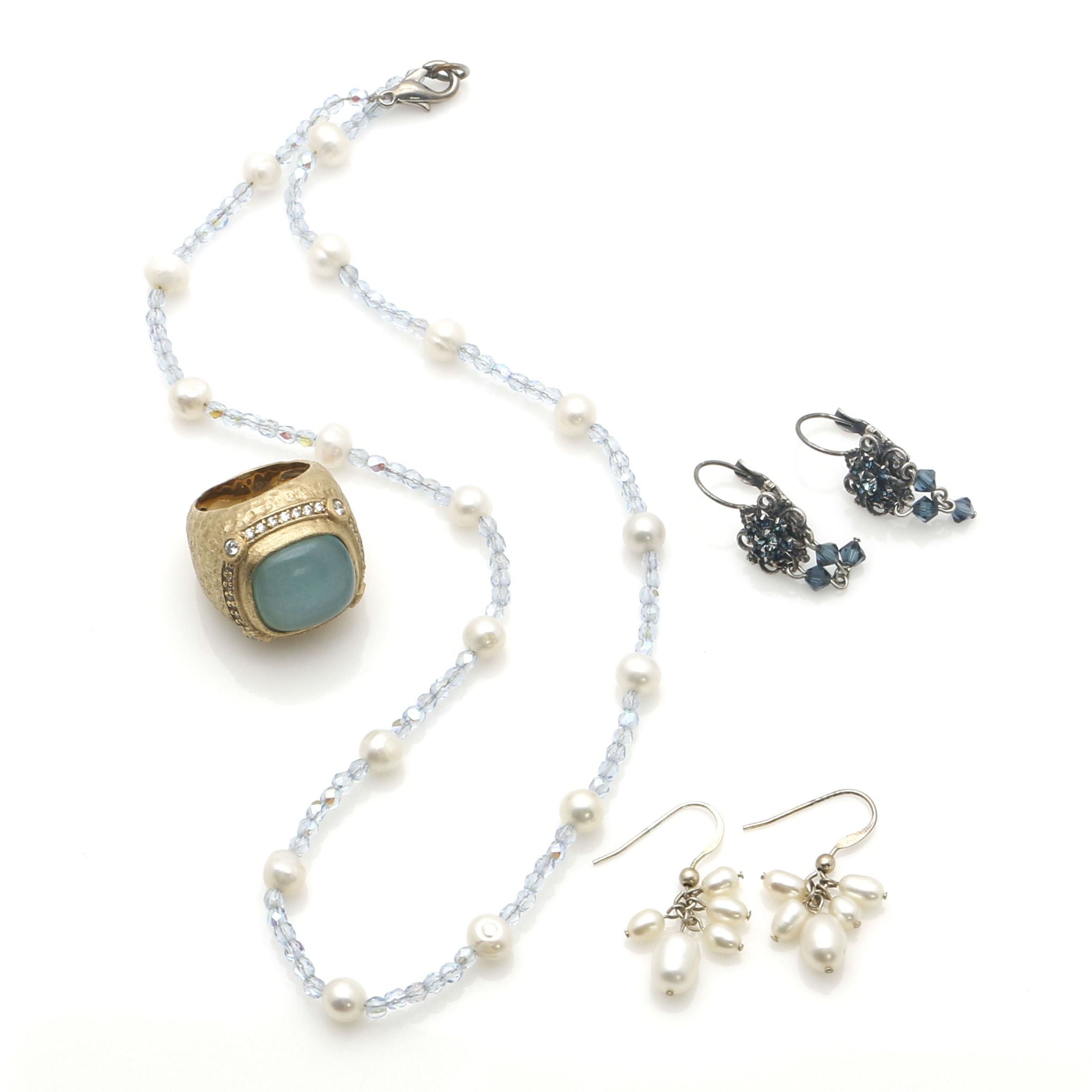 Assorted Jewelry With Gemstones and Pearls