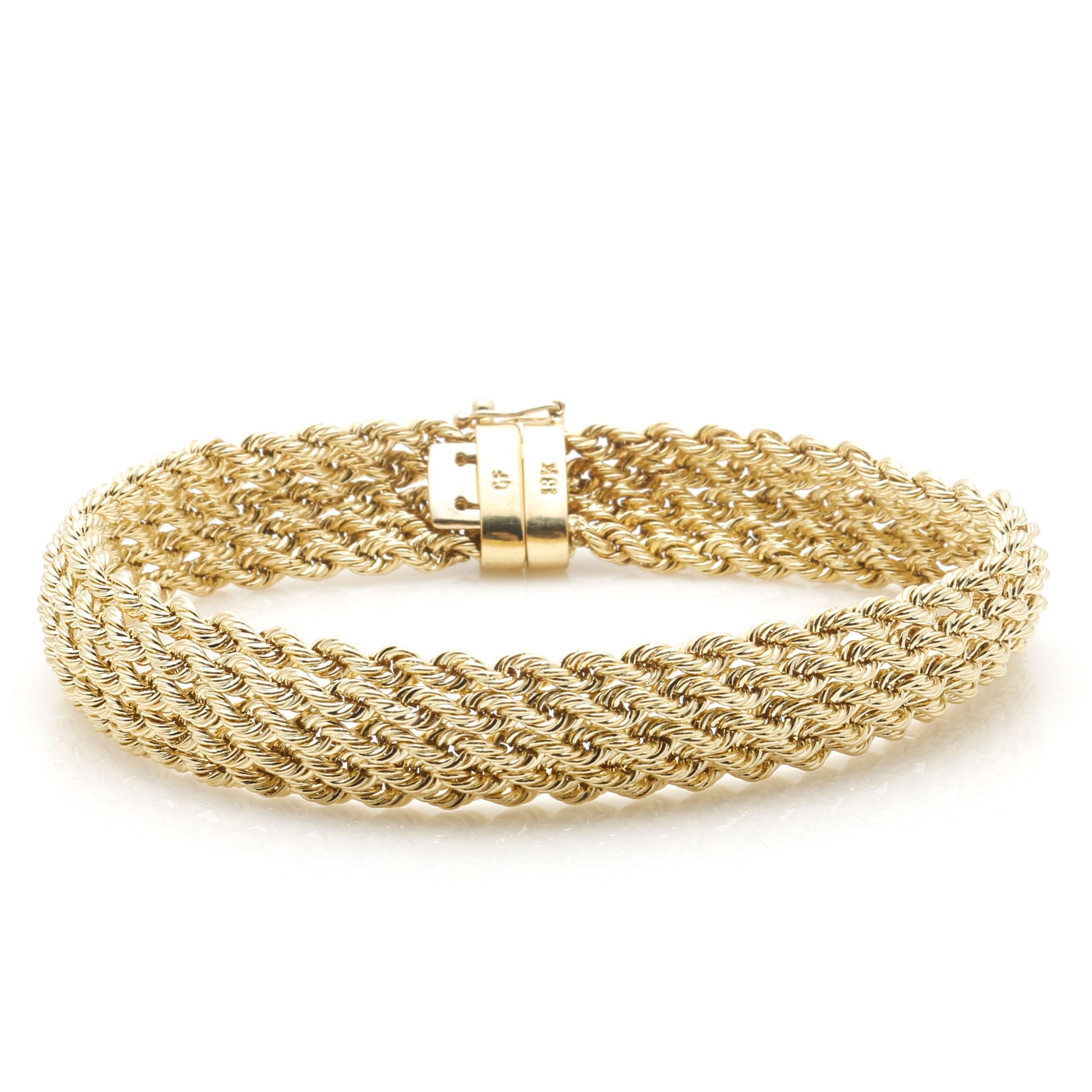 18K Yellow Gold Rope Chain Bracelet