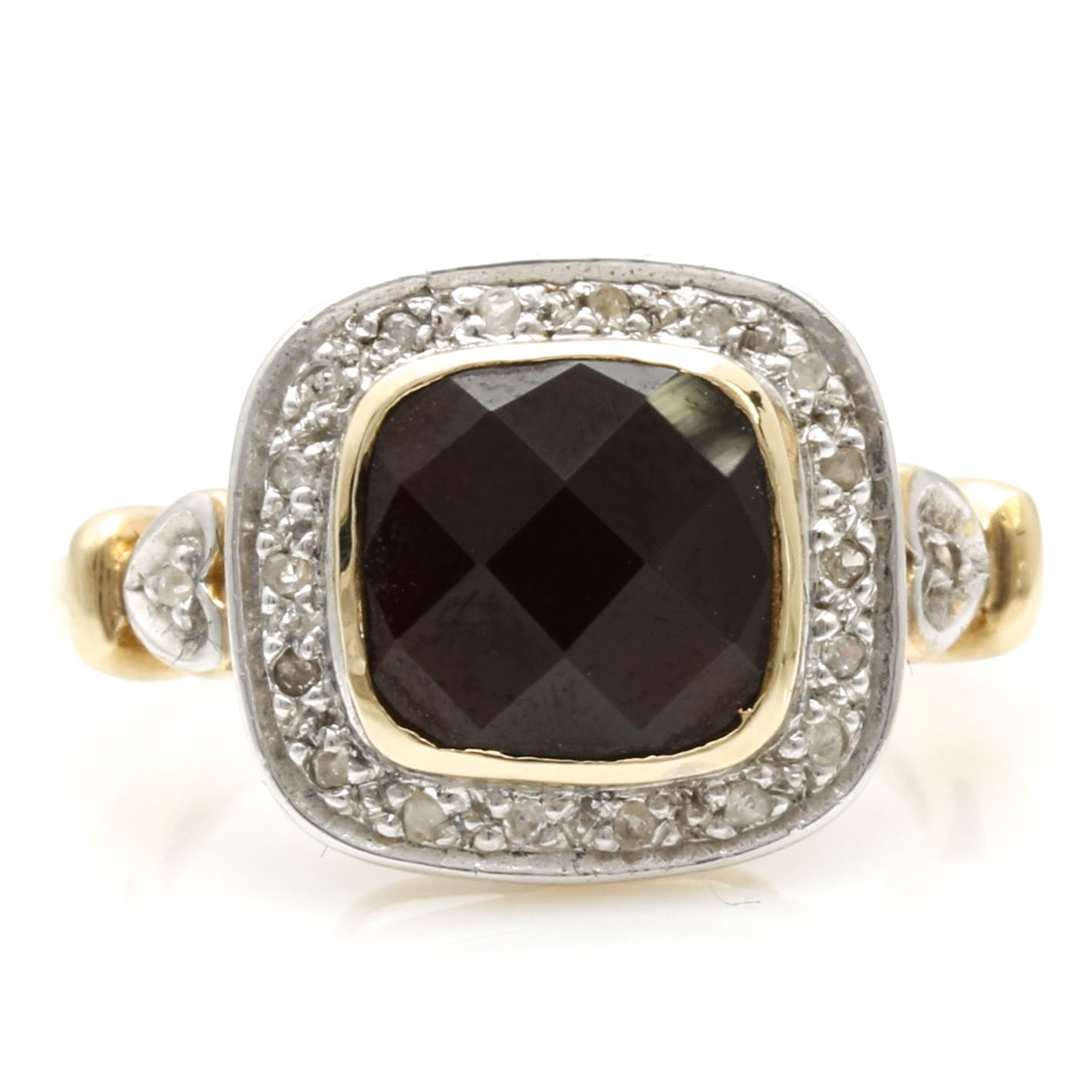 14K Two-Tone Gold Garnet and Diamond Ring With Heart Motifs