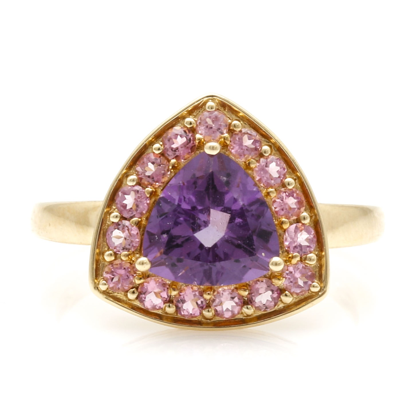 14K Yellow Gold Amethyst and Pink Tourmaline Ring