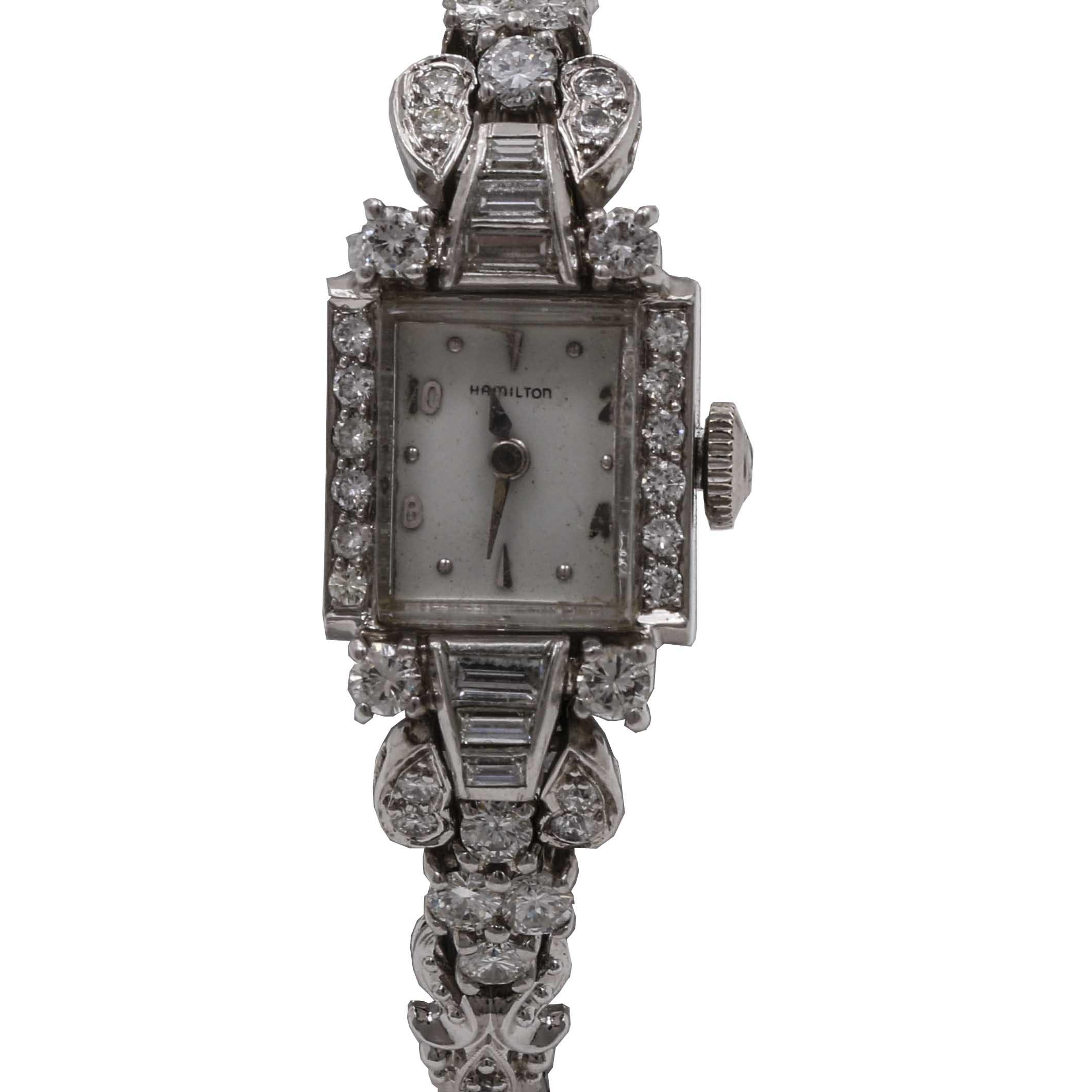 Women's Hamilton Platinum and Diamond Wristwatch