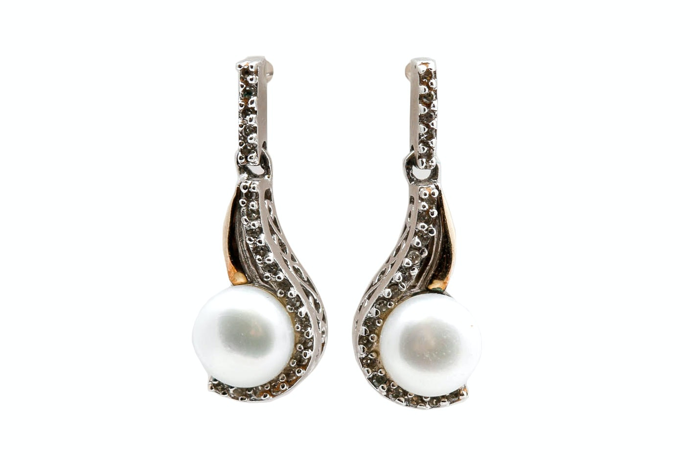 Sterling Silver 14K Gold Accented Pearl and Diamond Earrings