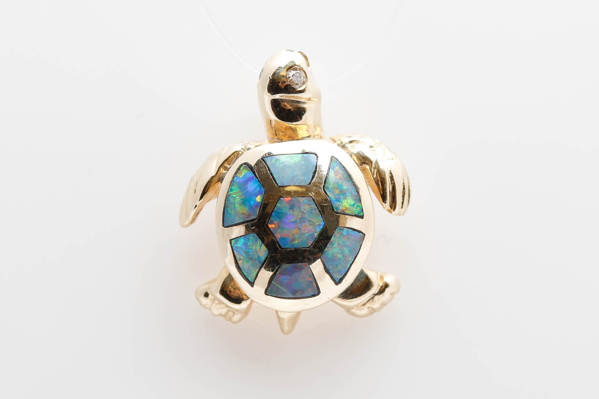 14K Yellow Gold Opal and Diamond Turtle Pendant