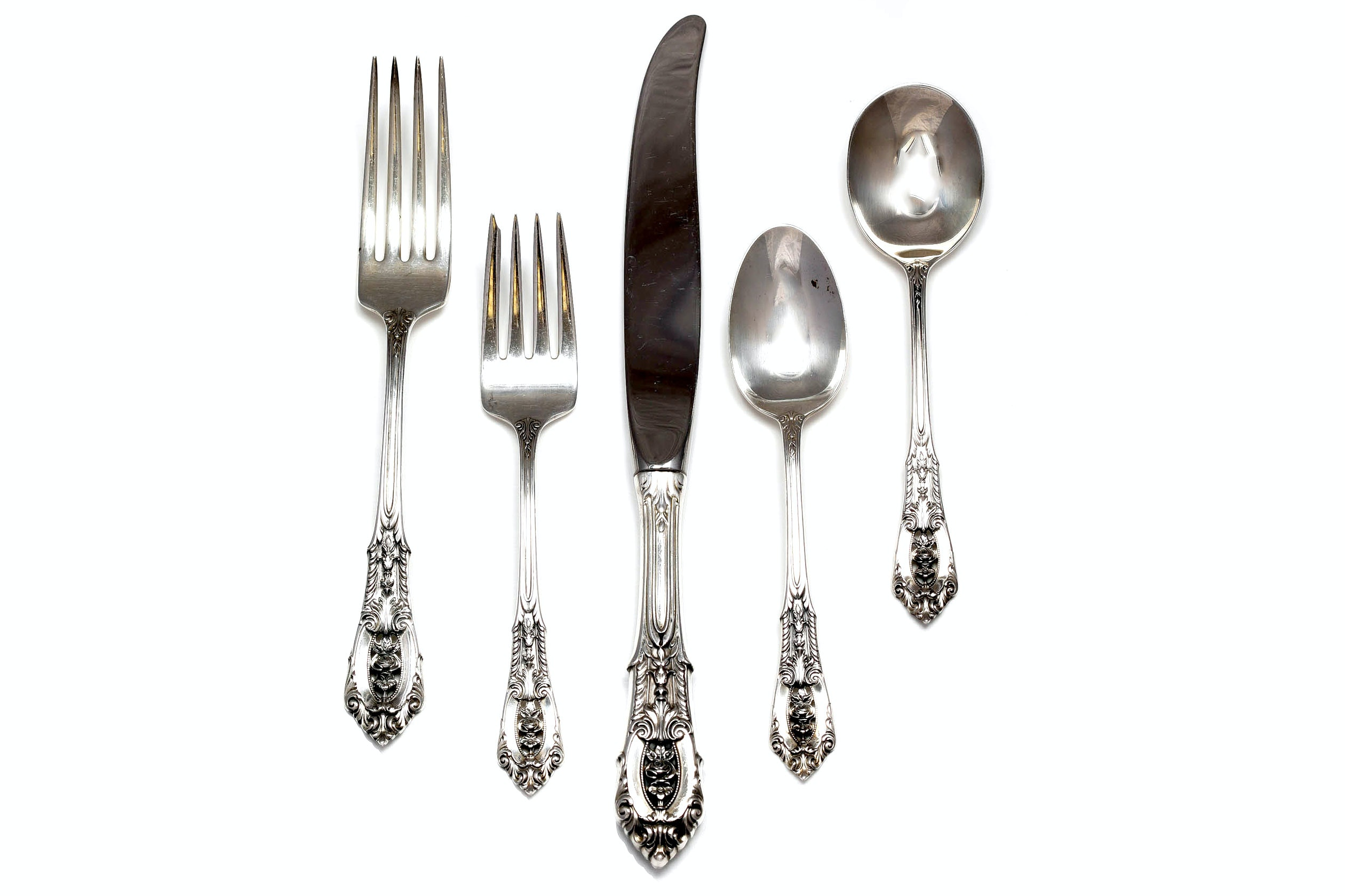 """Wallace Sterling Silver """"Rose Point"""" Flatware"""