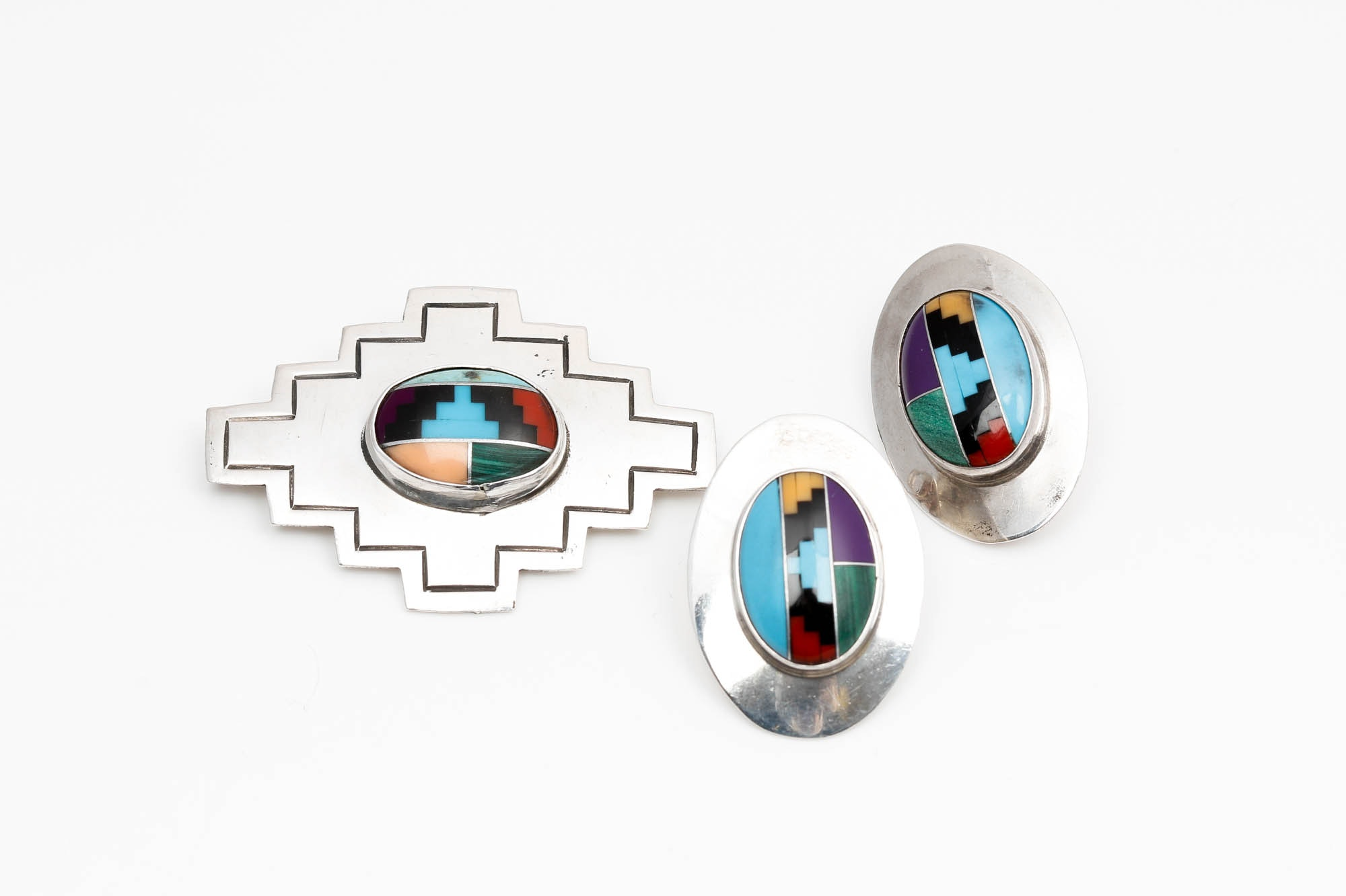 Timm Lewis Sterling Silver Stone Brooch and SE Earrings