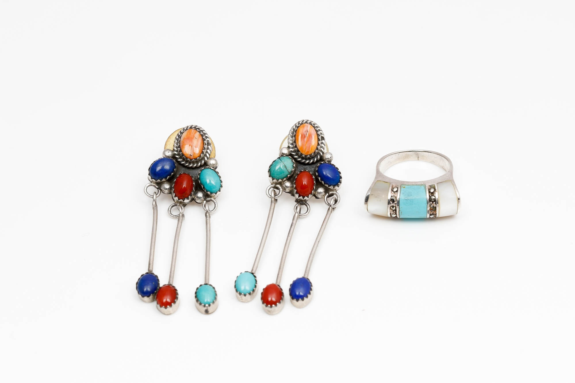 Sterling Silver Stone Earrings and Ring