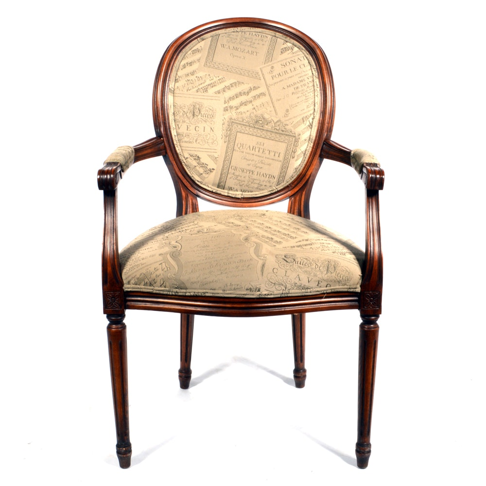 Louis XVI Style Upholstered Accent Chair