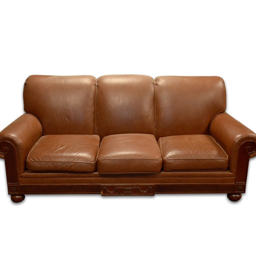 Contemporary Brown Leather Sofa by Hickory Chair