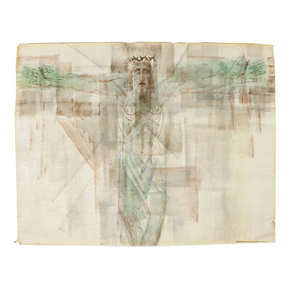 Arthur Helwig Watercolor on Paper of the Crucifixion