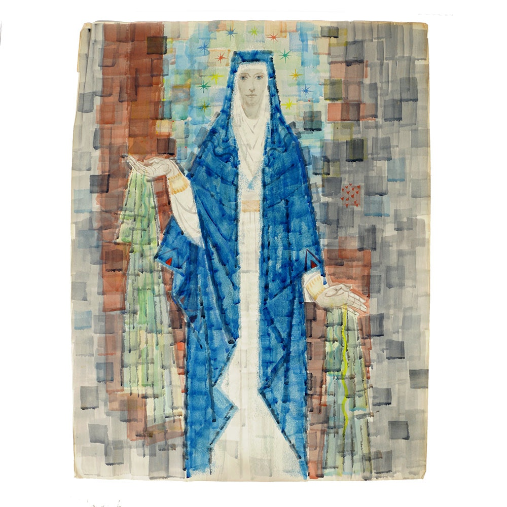 Arthur Helwig Watercolor on Paper of the Virgin Mary