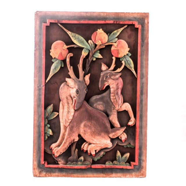 Vintage Chinese Wood Panel with Deer and Peaches