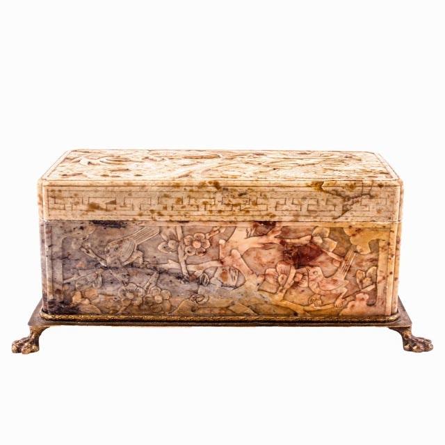 Vintage Carved Chinese Hardstone casket