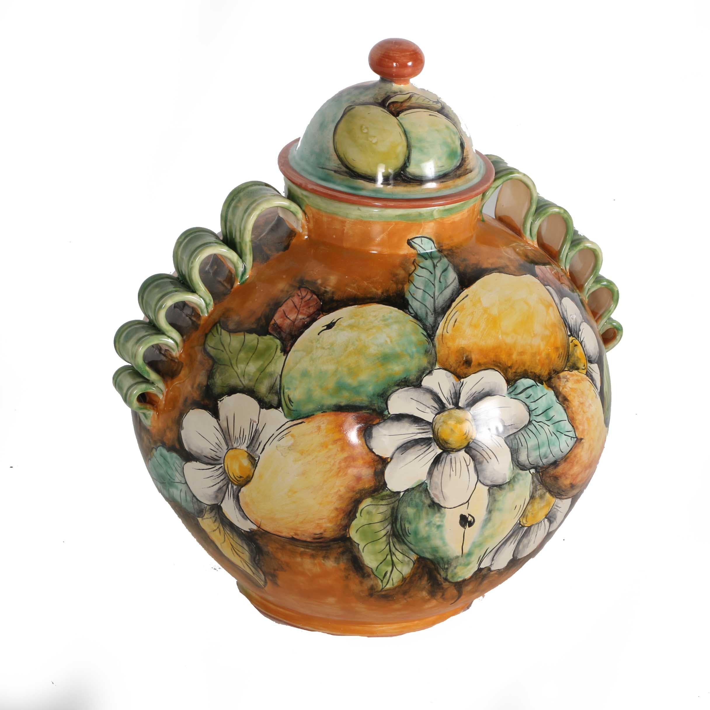 Colorful Mexican Guanajuato Majolica Covered Jar