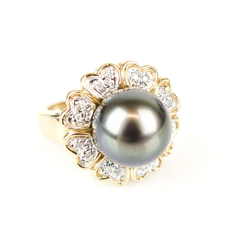 14K Yellow Gold, Black Pearl, and Diamond Cocktail Ring