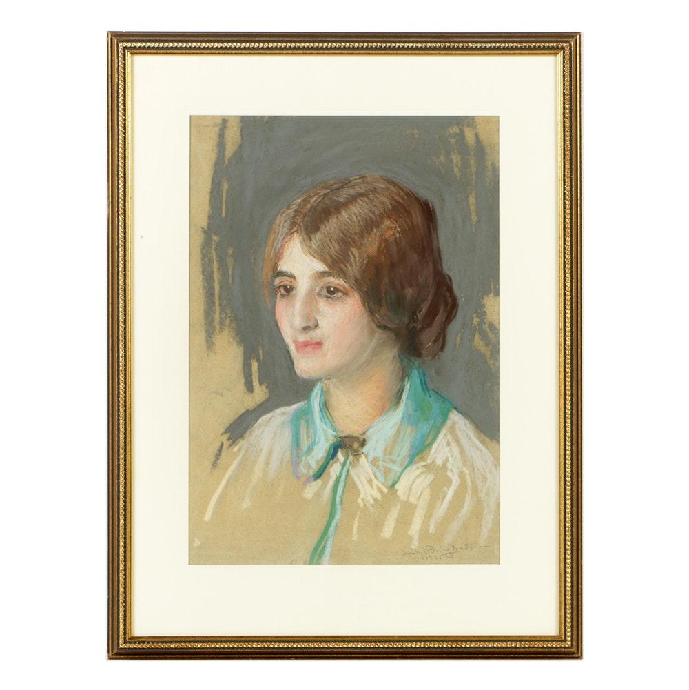 Emily Burling Waite Pastel Drawing on Paper Portrait of Woman